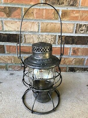 Vintage CH&D Railroad Lantern Etched Tall Globe