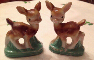 Pair of Vintage Ceramic Christmas Bambi Deer Reindeer Figurines - Japan, cute