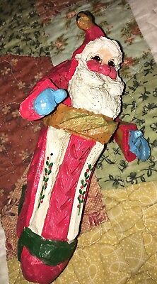 """House of Hatten 1992 Santa in Stocking Christmas Ornament 6 1/4"""" Tall"""
