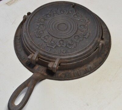 Antique Smith Francis & Wells CAST IRON Waffle Maker Chester Co. PA 100+yr old