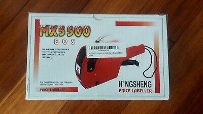 New MX-5500 8 Digits EOS Price Tag Gun +5000 White w/ Red Lines Labels + 1 Ink