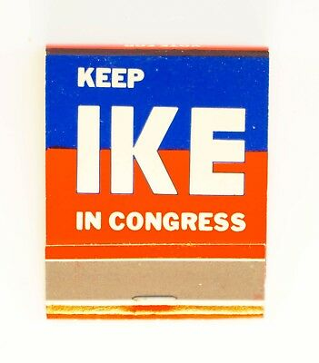 MINT 1960s Keep Ike In Congress Full Match Book