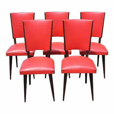 Set of 5 French Art Deco Solid Mahogany Dining Chairs Circa 1940s.AS IS
