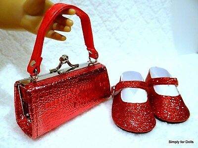 """2pc RED sparkle Mary Jane DOLL SHOES & Clasp PURSE SET fits 18"""" AMERICAN GIRL"""