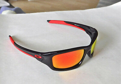 New Oakley Valve Sunglasses Black / Custom Polarized Ruby Iridium w Red O icon
