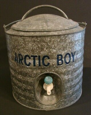 Vintage Two 2 Gallon Metal Heavy Duty ARTIC BOY Metal Water Cooler