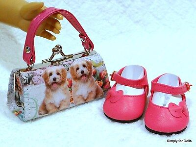 """2pc HOT PINK Puppy DOLL SHOES & Clasp PURSE SET fits 18"""" AMERICAN GIRL DOLL"""