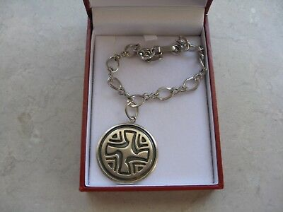 Vintage Solid Sterling Silver Large Charm on Silver Tone Bracelet Box