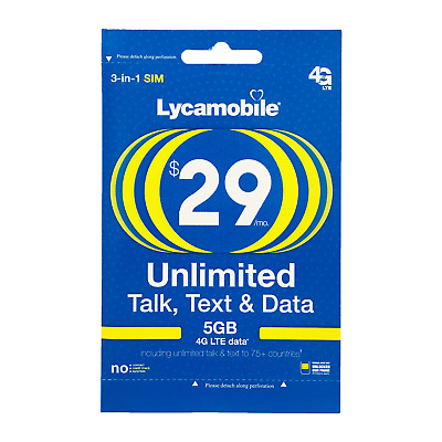 LYCAMOBILE PRELOADED SIM $29 Plan Text Talk 5GB Data Intl Calling1st Month FREE