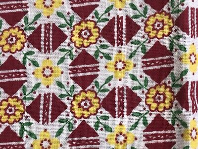 Vintage Flour Feedsack Fabric FQ Yellow Red Green Flowers Triangle Grid Floral