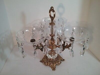 """Vintage Crystal Three Round Bowl Candy Dish Compote on Brass Pedestal 14"""" Tall"""