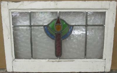 "MID SIZED OLD ENGLISH LEADED STAINED GLASS WINDOW Colorful Abstract 23"" x 15"""