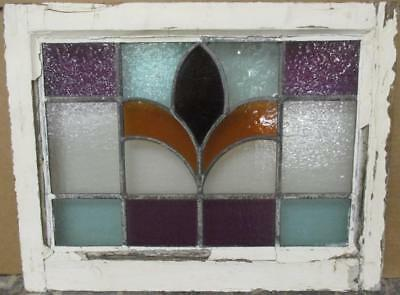 """OLD ENGLISH LEADED STAINED GLASS WINDOW Pretty Colorful Abstract 21.5"""" x 16.5"""""""