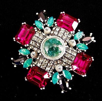 High End MALTESE CROSS Rhinestone Brooch Retro Vintage Designer Signed ysl