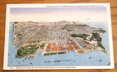 1915 Panama Pacific Exposition Bird's Eye View of Expo and San Francisco CA