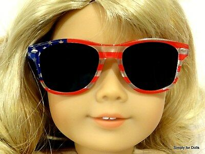 """RED WHITE & BLUE Patriotic Acrylic DOLL SUNGLASSES fits 18"""" AMERICAN GIRL Doll"""