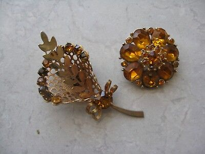 ART DECO Gold Plate Brown & Yellow Rhinestone Lot of 2 Brooches