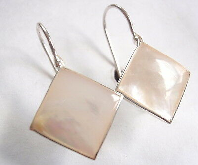Mother of Pearl Square Diamond-Shaped Earrings 925 Sterling Silver