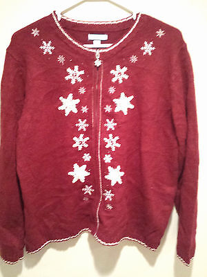 vintage retro ugly christmas sweater tacky red large croft barrow jumper