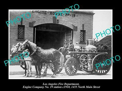 OLD HISTORIC PHOTO OF LOS ANGELES FIRE DEPARTMENT, THE No 19 HORSE WAGON c1910