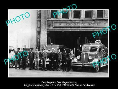 OLD HISTORIC PHOTO OF LOS ANGELES FIRE DEPARTMENT, THE No 17 ENGINE STATION 1950