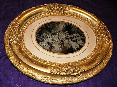 Rare Large French Ruby Ambrotype Female Nudes - In Gilt Frame