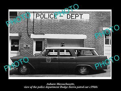 OLD LARGE HISTORIC PHOTO OF AUBURN MASSACHUSETTS, THE DODGE POLICE CAR c1960s