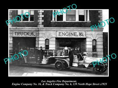 OLD HISTORIC PHOTO OF LOS ANGELES FIRE DEPARTMENT, THE No 16 ENGINE TRUCK c1925