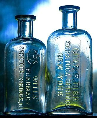 Two Vintage Saratoga Springs New York Pharmacy Bottles ~ Well's & Chas Fish