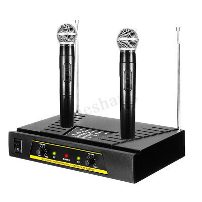 Pro Dual Channel Receiver VHF Wireless Cordless 2 Handheld Microphone Mic