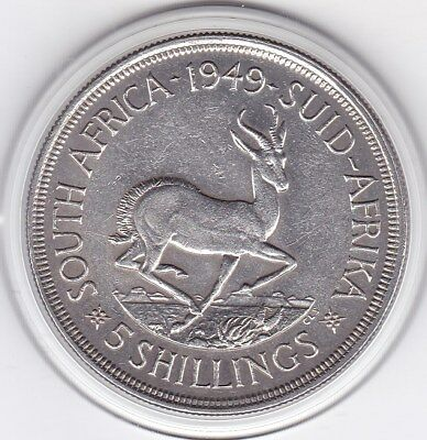 Sharp  1949  South  Africa   Large Crown / Five Shilling Silver (80%)  Coin