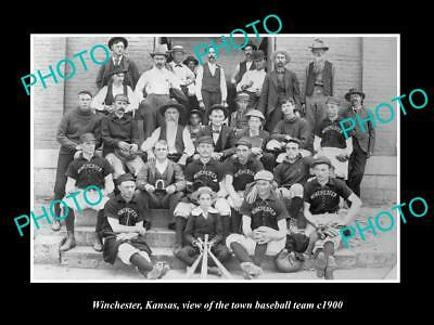 LARGE OLD HISTORIC PHOTO OF WINCHESTER KANSAS, THE TOWN BASEBALL TEAM c1900