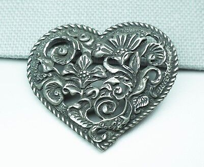 "Vintage Heart Belt Buckle West End USA Made Silver Tone Floral 2 3/4"" Wide"