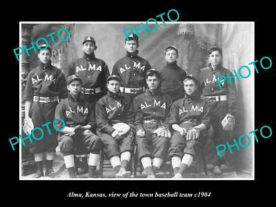 LARGE OLD HISTORIC PHOTO OF ALMA KANSAS, VIEW OF THE TOWN BASEBALL TEAM c1910