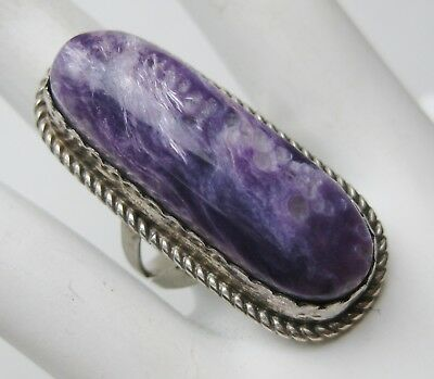 Vintage Navajo Indian Sterling Silver Charoite Tom Billy Signed Ring sz 8.25