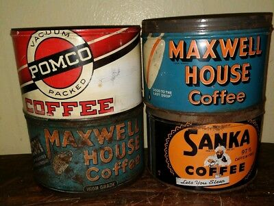 Lot of 4 Vintage Kitchen Coffee Tins SANKA, MAXWELL HOUSE, POMCO