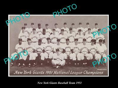 Large Old Historic Photo Of The New York Giants 1951 Baseball Team