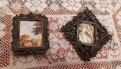 Vtg Pair 2 Mini Ornate Brass Picture Frames Made in Italy.