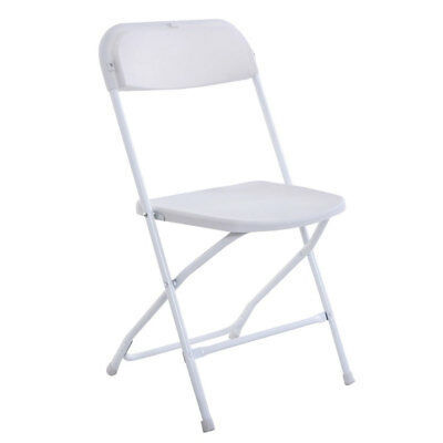 Lot 5 White Plastic Folding Chairs Steel Back Strong Commercial Wedding Party