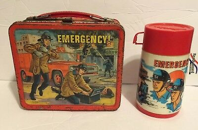 Rare 1973 Emergency 911 Embossed Metal Lunchbox Thermos
