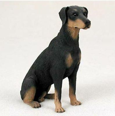 DOBERMAN PINSCHER (BLACK) DOG Figurine Statue Hand Painted Resin Gift Uncropped