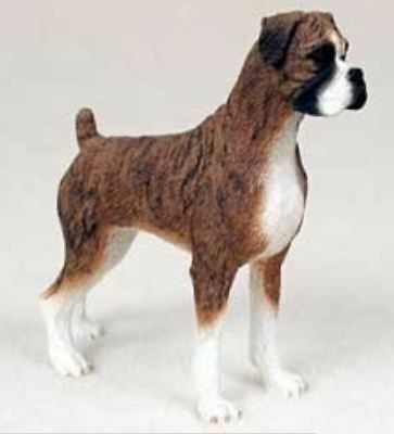 BOXER UNCROPPED DOG Figurine Statue Hand Painted Resin Gift Pet Lovers Brown