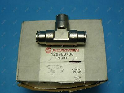 """Norgren 12-060-0700 Push To Connect Union Tee 1/2 x 1/2 x 1/2"""" Tube Brass"""