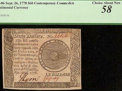 1778 $60 Dollar Contemporary Counterfeit Continental Currency Note Cc-86 Pcgs 58
