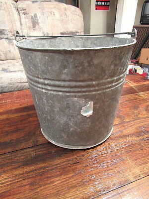 Vintage Galvanized Steel Pail Bucket Farm Planter Country Decor