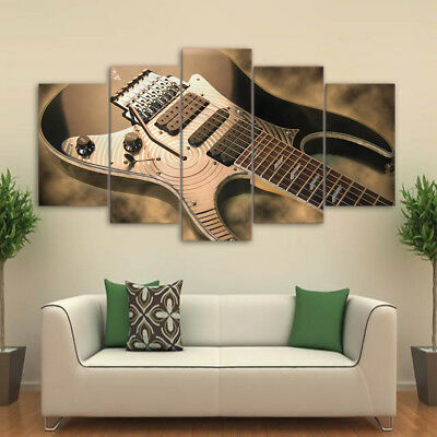 Vintage Electric Guitar Musical Instrument Poster 5 Panel Canvas Print Wall Art