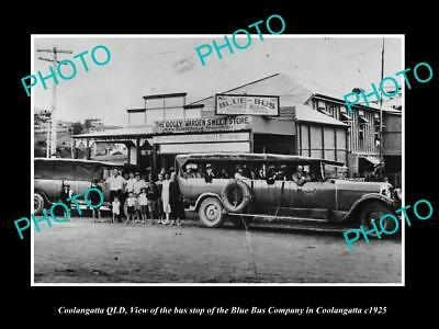 OLD LARGE HISTORIC PHOTO OF COOLANGATTA QUEENSLAND, THE BLUE BUS Co STOP c1925