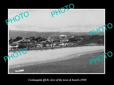 OLD LARGE HISTORIC PHOTO OF COOLANGATTA QUEENSLAND, THE TOWN & BEACH c1930 2
