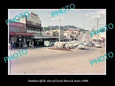 OLD LARGE HISTORIC PHOTO OF NAMBOUR QUEENSLAND, VIEW OF CURRIE ST & STORES c1960