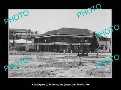 OLD LARGE HISTORIC PHOTO OF COOLANGATTA QUEENSLAND, THE QUEENSLAND HOTEL c1930